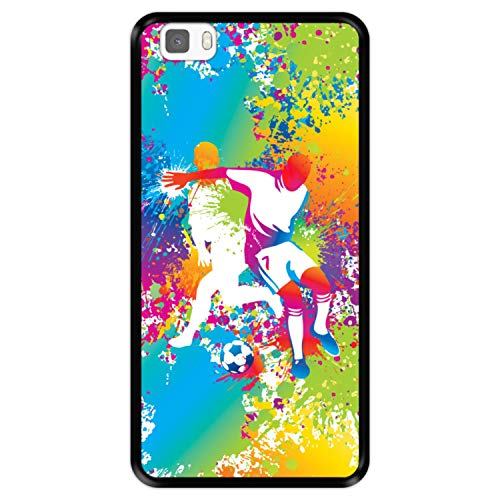 Funda Negra para [ Huawei P8 Lite ] diseño [ Abstracto, Jugadores de fútbol Multicolores ] Carcasa Silicona Flexible TPU