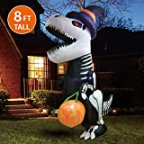 Joiedomi Halloween 8 FT Inflatable Skeleton Dinosaur with Build-in LEDs Blow Up Inflatables for Halloween Party Indoor, Outdoor, Yard,...