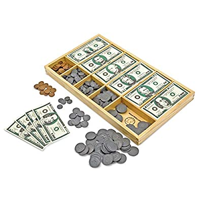 Melissa & Doug Play Money Set - Educational Toy With Paper Bills and Plastic Coins (50 of each denomination) and Wooden Cash Drawer for Storage by Melissa & Doug