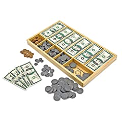 CLASSIC PLAY MONEY SET: The Melissa & Doug Classic Play Money Set includes familiar-appearing paper bills and plastic coins. There are 50 pieces of each denomination. WOODEN CASH DRAWER: This children's play money set comes with a wooden cash drawer ...