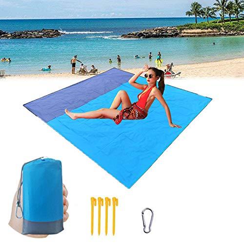 SAMAU Alfombras de Playa 210 x 200 cm,Manta Picnic Impermeable Lavable Esterilla Playa con 4 Clavos Fijos,para Camping, Parque, Barbacoa, Yoga, Senderismo, Viajes
