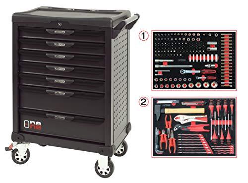 KS Tools 823.7184 One by One - Carro de taller (7 cajones, 184 herramientas), color negro