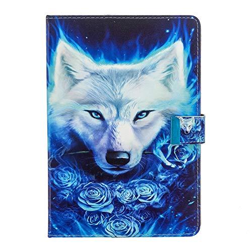 WDSUN 10.1 Zoll Tablet Hülle Universal, Schutzhülle Hülle Tasche für Lenovo Tab E10, Huawei MediaPad T3 T5 10/M5 Lite 10, Samsung Tab A 10.1, iPad 10.2 2019 & 10 Zoll Android Tablet, Wolf