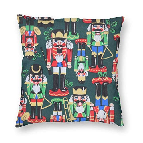 Personalized Nutcracker Decorative Throw Pillow Covers Inch,Cartoon Character Doll Cotton Linen Cushion Cover Square Pillow Cases for Car Sofa Home Decor 18X18 Inch
