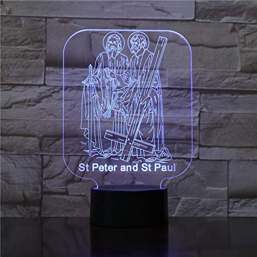 3D Bluetooth Smart Control St. Peter und St. Paul von Gott 3D Acryl LED Nachtlicht Illusion Home Decor Optische Lampe Beleuchtung USB Touch Leuchtend Neuheit Geschenk