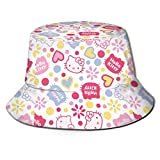 Hello Kitty Pink Bucket Sun Hat para Hombres Mujeres -Protection Packable Summer Fisherman Cap for Fishing, Safari, Beach Boating-4Y