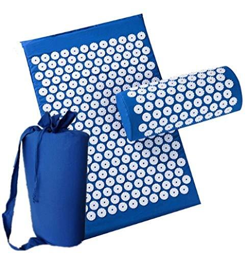 Cxypeng Acupresión Masaje Almohadilla Esterilla,Cojín de Masaje de Yoga Engrosado, 3 Juegos de Almohada de acupuntura Conveniente Bolsa-Azul,Masaje Yoga Mat