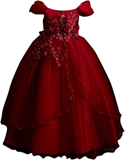 Hopscotch Girls Poly Viscose Lovely Floral Applique Sleeveless Full Length Gown in Red Color