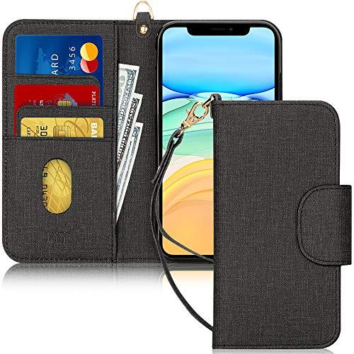 FYY Handyhülle für iPhone 11 6.1, iPhone 11 Hülle, Lederhülle mit Standfunktion & Kartenfach TPU Innenraum und [RFID-Schutz] Handytasche für Apple iPhone 11 6.1 Zoll (2019)-Leinwand Schwarz