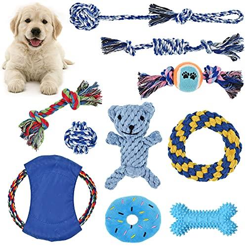 10 piezas de juguetes para cachorros, juguetes de cuerda de perro para perros pequeños y medianos, juguetes de cuerda para masticar, juguetes de peluche chirriantes para perros