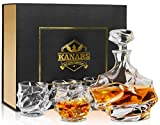 KANARS Emperor Whiskey Glasses and Decanter Set - Lead Free Crystal Liquor Decanter