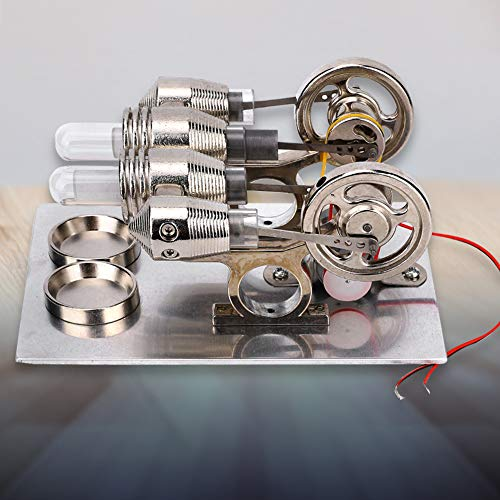 Worii Stirling Engine Machine, 4 Cylinder Stirling Engine Miniature Hot Air Power Generator Physics Lab Teaching Model Tool, Birthday Gifts for Children and Adults