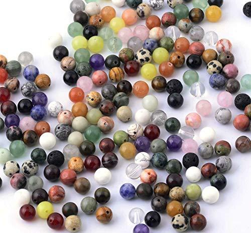 AMAHOFF Halbedelsteinschmuck selber Machen Set mit 110 Stück Mix Halbedelsteine Perlen 8mm Schmucksteine Steinperlen Heilsteine Halbedelsteinperlen Bastelperlen