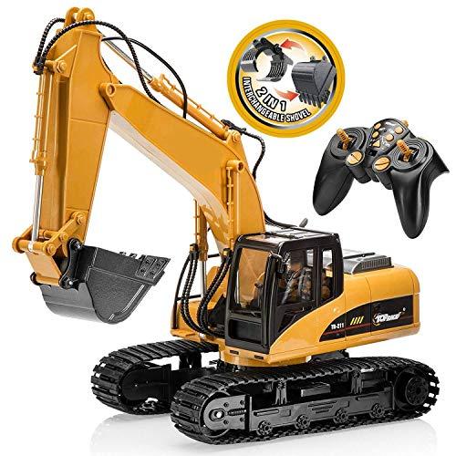 TopRace 15 Canales Completo de Control Remoto Funcional Excavator Construction Tractor, Excavadora de Juguete con 2.4Ghz Transmitter 2 en 1 con Pala Intercambiable TR-215/211