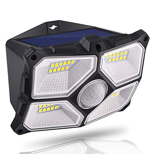 Luce Solare Esterna 40 LED, Lampada con sensore di movimento solare, illuminazione impermeabile IPX5, Faretto Solare Esterno, ideale per Giardino, Esterno, Portico, Cortile