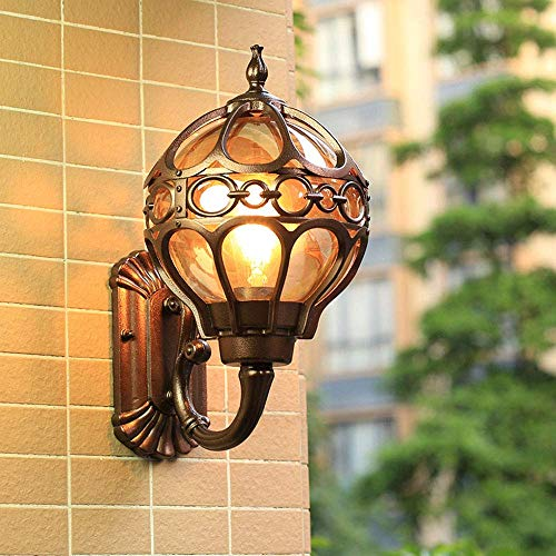 Beautiful Home Decoration lampen wandlampen buiten E27 waterdicht Sconce wijnoogst-tuinlamp buitenverlichting aluminium en glazen bol-shade gevel lamp ingang Foyer Villa lamp, brons 18 *