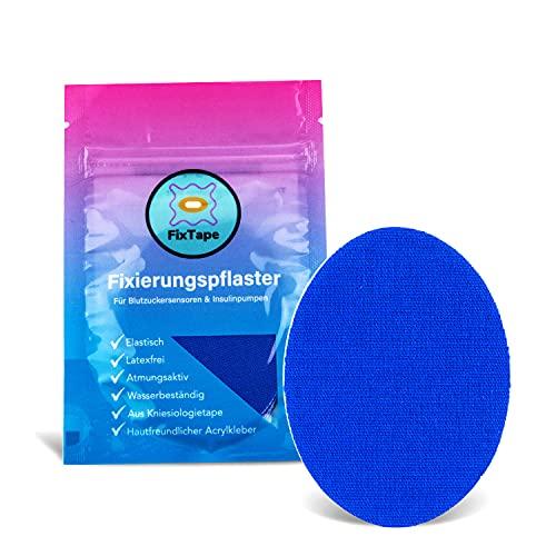 FixTape atmungsaktive Sensor-Tapes für Freestyle Libre 1 & 2 I selbstklebende Over-Tapes für Glukose-Sensor I Schutz-Patch mit hohem Trage-Komfort I hautfreundlich wasserfest I 7 Stück (Blau)