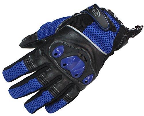 Qtech Kurze Stulpe Motorrad-Handschuhe Knöchelschutz - Touren - Reflexstreifen - Blau - XL