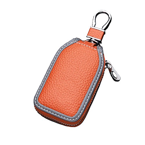 Car Key Case - Superior Genuine Leather Auto Key FOB Holder Smart KeyChain Protector Cover with Metal Hook and Zipper (Orange)