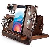 Idee Regalo Uomo Regali segreti di Babbo Natale Docking Station in legno per telefono (3 ganci) portachiavi da uomo a portafoglio supporto per occhiali gadget uomini scatola regalo