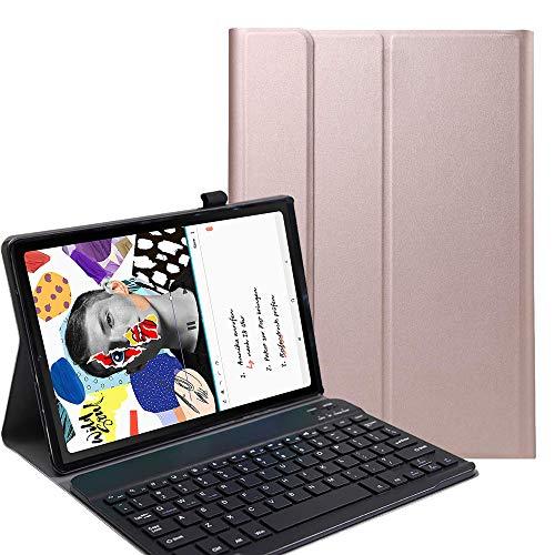 RLTech Funda Teclado Español Ñ para Samsung Galaxy Tab S6 Lite, Español Slim Teclado Keyboard Case con Magnético Desmontable Inalámbrico Bluetooth para Samsung Tab S6 Lite 10.4 P615/P610, Oro Rosa