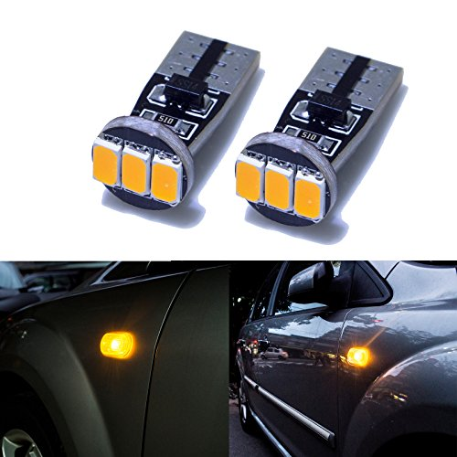 PA 2 pcs Auto véhicule côté marqueur Tour Signal Parking ampoule 3 SMD 5630 LED haute Jaune vif Ambre W5 W 501 T10 194
