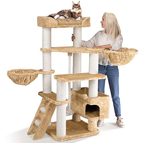 Happypet® Kratzbaum für große schwere Katzen bis 15kg | 156 cm hoch | Creme | Kletterbaum | Maine Coon