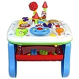 TONZE Centro de Actividades Bebe Juguetes Montessori 2 in 1 - con Bloques de construcción, Tablero de Dibujo magnético Juguetes educativos Regalos niños 1 2 3 4 5 años