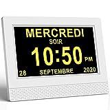 SINOIDEAS Horloge Numérique Calendrier Horloge Alzheimer Horloge Démence 7' LCD avec Date, Jour Et Heure, C'est pour Les Parents, Grands-Parents (Ecru)