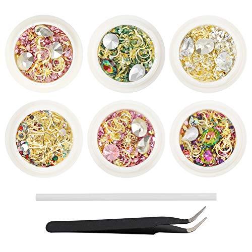 Phoetya Nail Art Strass Dekorationsset, 6 Schachteln Gemischte Nageledelsteine Farbige glänzende Strassdiamanten Perlen Kristalle Edelsteine mit Pinzette und Nagel Punktierstifte für 3D Nails Art