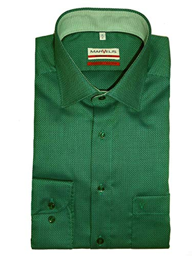 Marvelis Modern Fit Hemd Extra Langer Arm 69cm bügelfrei- Uni Struktur mit Besatz Reine Baumwolle, Größe:44, Farbe:Petrol