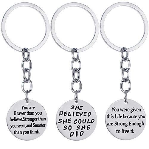 Pack of 3 Inspirational Keychain Inspirational Gifts Inspirational Jewelry Women Key Chains Christmas Gifts (Pack of 3 Mixed Styles)