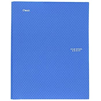 """Five Star 2-Pocket Folder Stay-Put Folder Plastic Colored Folders with Pockets & Prong Fasteners for 3-Ring Binders For Home School Supplies & Home Office 11"""" x 8-1/2"""" Blue  72115"""