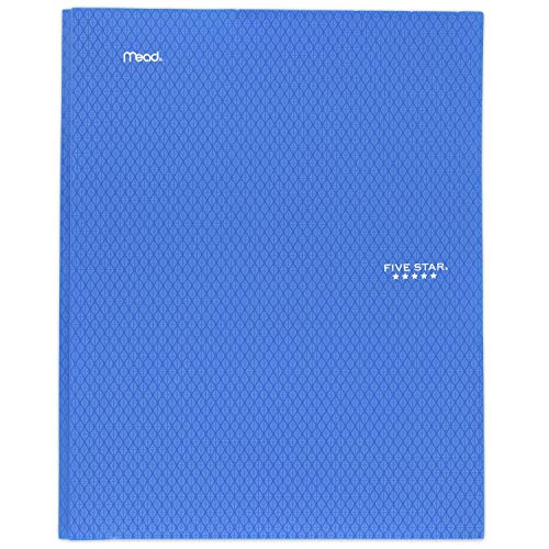 """Five Star 2-Pocket Folder, Stay-Put Folder, Plastic Colored Folders with Pockets & Prong Fasteners for 3-Ring Binders, For Home School Supplies & Home Office, 11"""" x 8-1/2"""", Blue (72115)"""