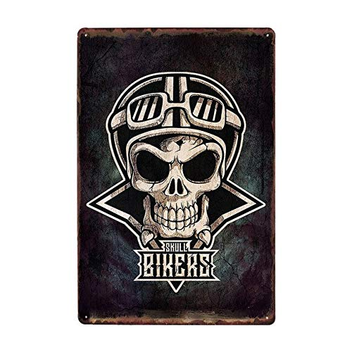 Ami0707 Plaque Vintage Cartoon Skull Iron Plate Painting Garage Modern Bar Cafe Metal Plaques Vintage Tin Sign Wall Stickers Indoor Decor Art Crafts 20x30cm 9