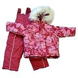 Pistachio Infant Girls Pink Floral Outerwear Set Snow Bibs Fur Coat Snowsuit 12m