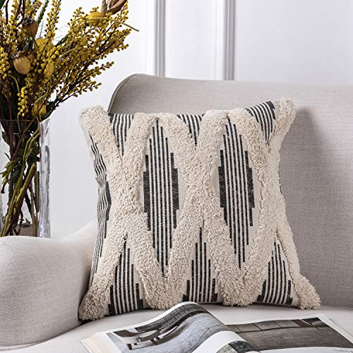 Azume 18 x 18 Inch Boho Tufted Throw Pillow Cover with Tassel Cotton Woven Cushion Cover Tribal Pillow Cover for Living Room, Bedroom, Office Cushion, Bench, Couch, Sofa, Chair, Grey