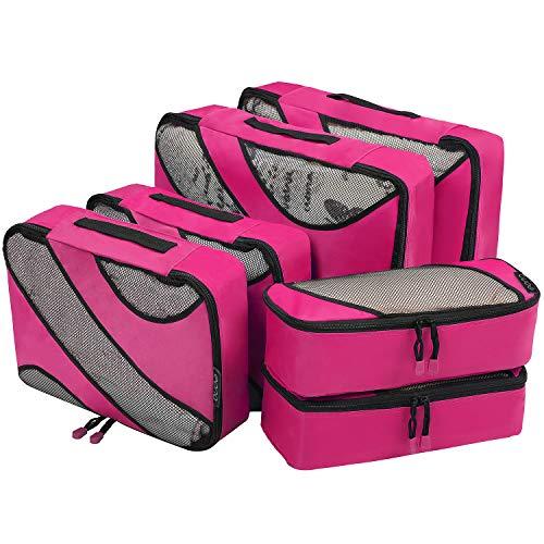 Eono by Amazon - Packing Cubes Travel Luggage Organizers Suitcase Organizer Packing Organizers, 6 Set (2L+2M+2Slim), Fushcia