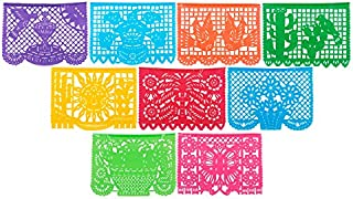 Paper Full of Wishes Festival Mexicano Large Plastic Papel Picado Banner, 9 Multi-Colored Panels 15 feet Long