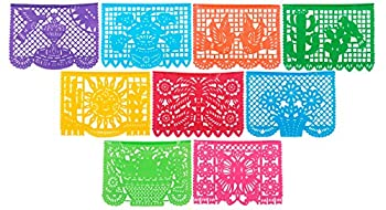 Paper Full of Wishes Festival Mexicano Large Plastic Papel Picado Banner 9 Multi-Colored Panels 15 feet Long