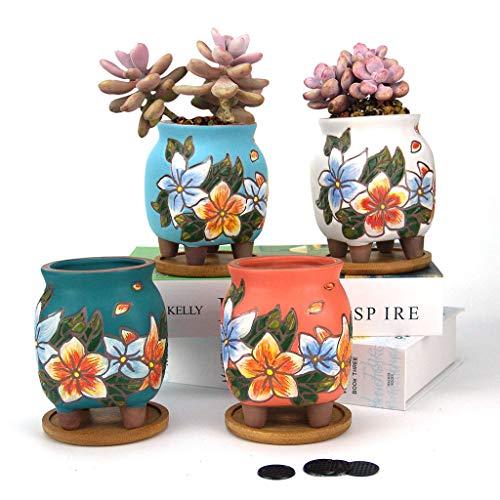 Summer Impressions Blumentopf, 7,6 cm, handbemalt, für Sukkulenten, Kaktus, Ton, Blumentopf, Pflanzgefäß, Blumendesign, mit Ablaufloch, Bambus-Tabletts, 4 Stück (Primeln)