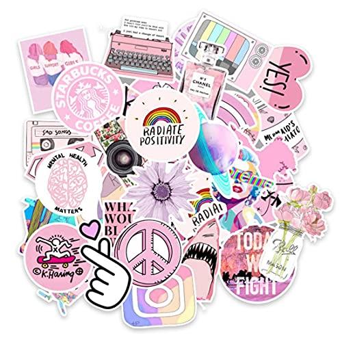 VSCO Girl Stickers, Paquete de 53 Lindas Pegatinas de Vinilo, Impermeables, Estéticas, AdheSivas, Pegatinas de Moda para Laptop, Monopatín, Cool Stuff Stickers para Niños, Hydro Flask, Teléfono
