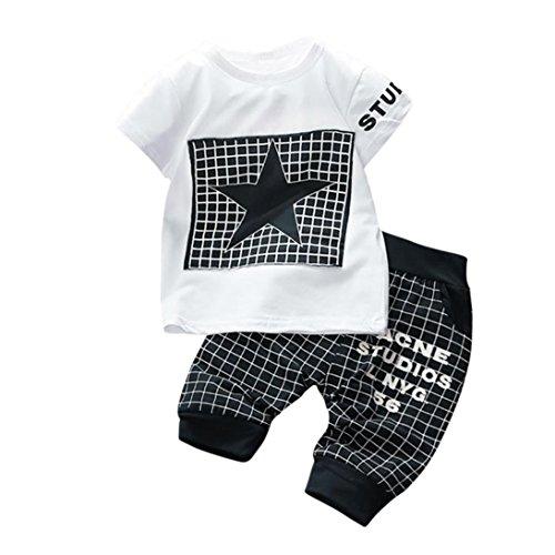 K-youth Conjuntos Bebé Niño, Ropa Recién Nacidos Bebe Niño Camiseta Mangas Cortas Enrejado Estrellas Cartas Estampado Tops y Pantalones Verano Ropa Conjunto (Negro, 6-12 Meses)