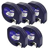 5 x Kunststoff-Etiketten LetraTag 91201 S0721610 S0721660 schwarz auf weiß kompatibel für DYMO LetraTag LT110T