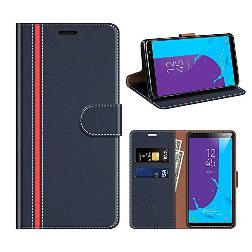 COODIO Samsung Galaxy J6 2018 Hülle Leder, Galaxy J6 2018 Kapphülle Tasche Leder Flip Cover Schutzhülle Rugged für Samsung J600 Galaxy J6 2018 Handyhülle, Dunkel Blau/Rot