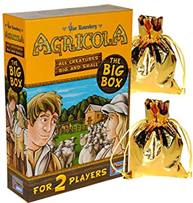 Agricola Game All Creatures Big & Small (Big Box) 2 Player Stand Alone || Bonus 2 Gold Metallic Cloth Drawstring Storage Pouches || Bundled Items by LKOUT Games Ltd
