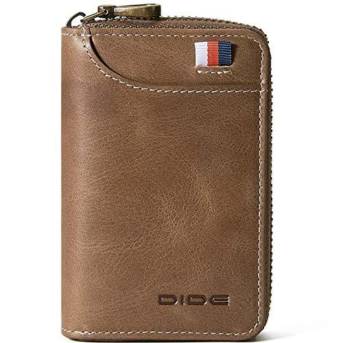 DIDE[Amazon限定ブランド] クレジットカードケース 本革 14枚収納 軽量 大容量 磁気防止 小銭入れ メンズ レディース (カーキ 1)
