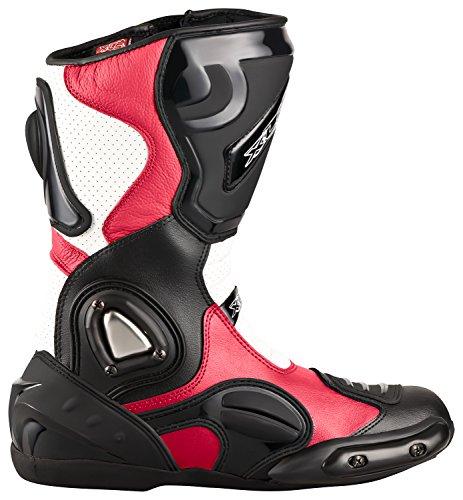 XLS Motorradstiefel hochwertige Racing Boots Touringstiefel Lederstiefel schwarz weiß rot (42)
