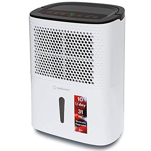 Turbionaire Smart 10 Eco Deumidificatore Portatile Silenzioso Nuovo Refrigerante Ecologico R290, 10L/ 24h, Panello di Controllo Digitale, Funzione Inside Drying