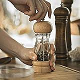 All--In Juego de molinillos de sal y pimienta manual grande de madera y cristal...